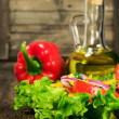 Healthy food .vegetable salad and sunflower oil — Stock Photo