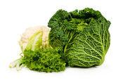 савойской капусты и цветной капусты, салата и зеленый лук — Стоковое фото