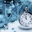 Pocket watch and Christmas decorations.  — Stock Photo