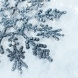 Shiny snowflake in the snow close-up — Stock Photo