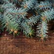 Spruce branches on wooden background — Stock Photo #35935367