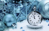 Pocket watch and Christmas decorations. — Stockfoto