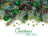 Spruce branches with Christmas decorations — Stock Photo