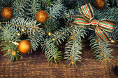 Spruce branches with decorations — Stock Photo