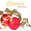 Red christmas balls with ribbon — Stock Photo