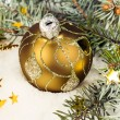 Fir branches and Christmas decorations  — Stock Photo