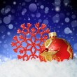 Red Christmas ball with a decorative snowflake — Stock Photo