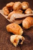 Croissants with chocolate close-up — Stock Photo