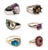 Set of rings with stones — Stock Photo