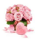 Basket with roses and gift box — Stock Photo