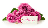 Bouquet of pink roses with card — Stok fotoğraf