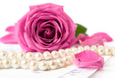 String of pearls and a pink rose — Stock Photo
