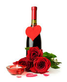 Bottle of wine , red roses and candle — Photo