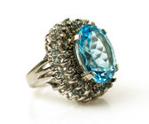 Silver ring with big natural topaz — Stock Photo
