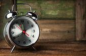 Silver retro alarm clock — Stock Photo