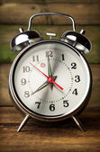 Silver retro alarm clock close up — Stock Photo