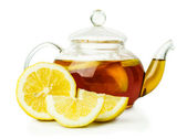 Lemon tea in glass teapot — Foto de Stock