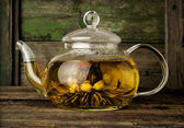 Blooming green tea in glass teapot — Stock Photo