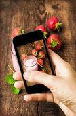 Foto de comida tiro de smartphone — Fotografia Stock