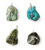 Set of stones pendants — Stock Photo