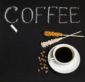 Slate with inscription and coffee — Stock Photo