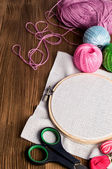 Set Embroidery : Threads and accessories and hoop  — Photo