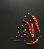 Spices on a blackboard — Stock Photo