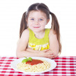 Beautiful girl with big bowl of pasta — Stock Photo