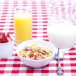 Breakfast of cereal, fruit, orange juice and milk — Stock Photo