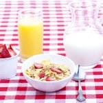 Breakfast of cereal, fruit, orange juice and milk — Stock Photo #13716345