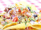 Nachos on checkered tablecloth — Stock Photo