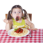 Caught eating a meatball — Stock Photo