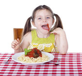 Little girl with sauce all over her face — Stock Photo