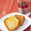Royalty-Free Stock Photo: Toasted corn muffin with butter and a cup of tea