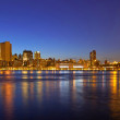 VIew of Manhattan and Brooklyn bridges and skyline at night — Stock Photo #24078551