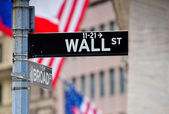 Wall St and Broad St street sign in NYC — Stock Photo