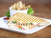 Grilled caprese sandwich — Stock Photo