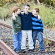 Boys on the tracks — Stock Photo