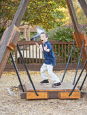 Young boy being silly at the park — Stock Photo