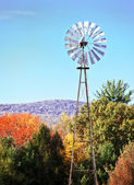 Windmill amongst beautiful autumn leaves — Стоковое фото