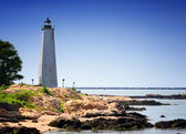 Five Mile Point lighthouse on the coast — Stock Photo