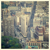 Aerial view of the streets of New York City including the Flatir — Stock Photo