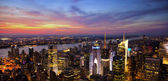 Aerial view of the New York City skyline at sunset — Stock Photo