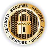 Secured Sign Gold — Stock Vector
