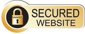 Secured website sticker gold — Stok Vektör