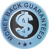 Money Back Guaranteed Blue — Stock Vector