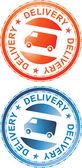 Delivery Sign Orange amd Blue — Stock Vector