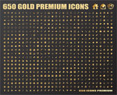 650 Gold Icons — Stock Vector