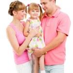 Happy family isolated on white background — Stock Photo