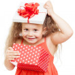 Funny child girl with gift box — Foto de Stock